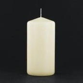 8cm high 6cm round ivory wax pillar candle