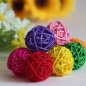 Mixed coloured rattan balls - choose the colours your require.