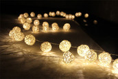 White Rattan Ball Table Centrepiece wedding lights
