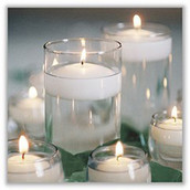 4cm diameter White floating candle - 3-4 burn time