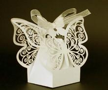 Ivory Cream Butterfly Bomboniere almond box