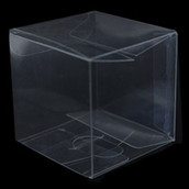PVC Clear See Through Plastic 15cm Square Cube Box - Large Bomboniere or Exhibition Gift