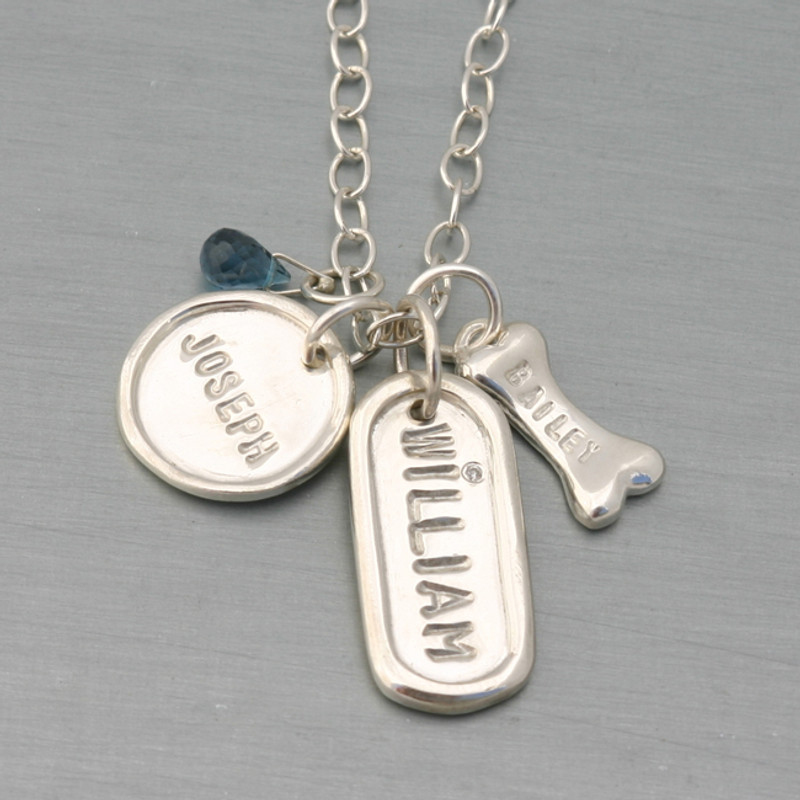 Shiny Finish with Medium Disc, Medium Dog Tag and Briolette on a Medium Link Chain