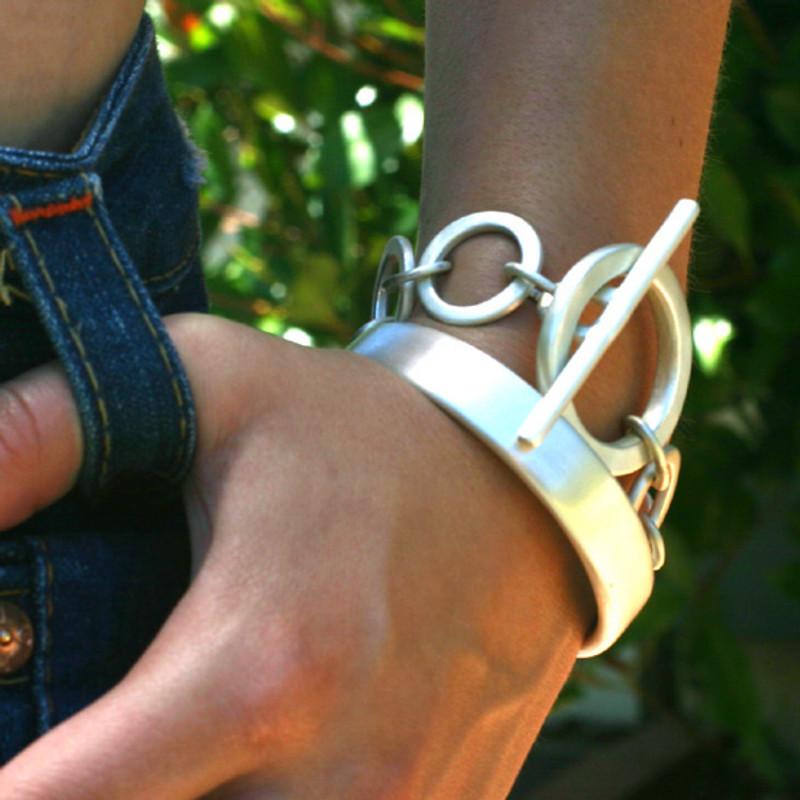 Chunky Sterling Silver Sculpted Bangle Bracelet