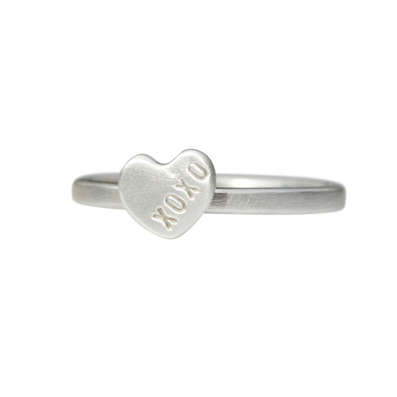 Itty Bitty Heart Stacking Ring Personalized