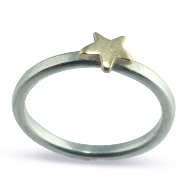Stackable Charm Ring Silver Band With 14kt Gold Star Personalized