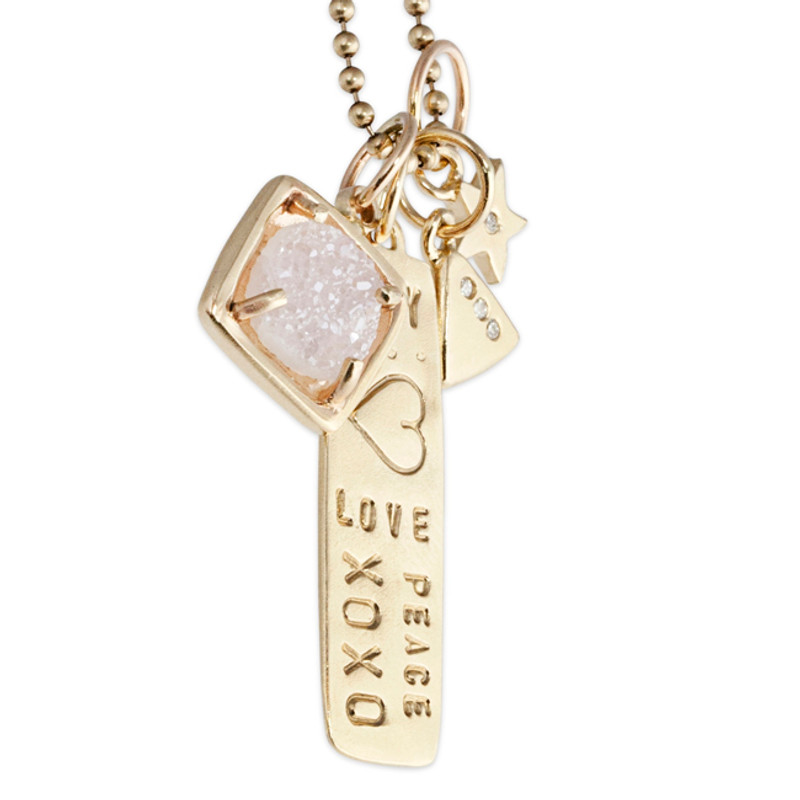 small square druzy charm in 14kt yellow gold, with bar pendant, triangle charm and itty bitty star charm on a tiny ball chain