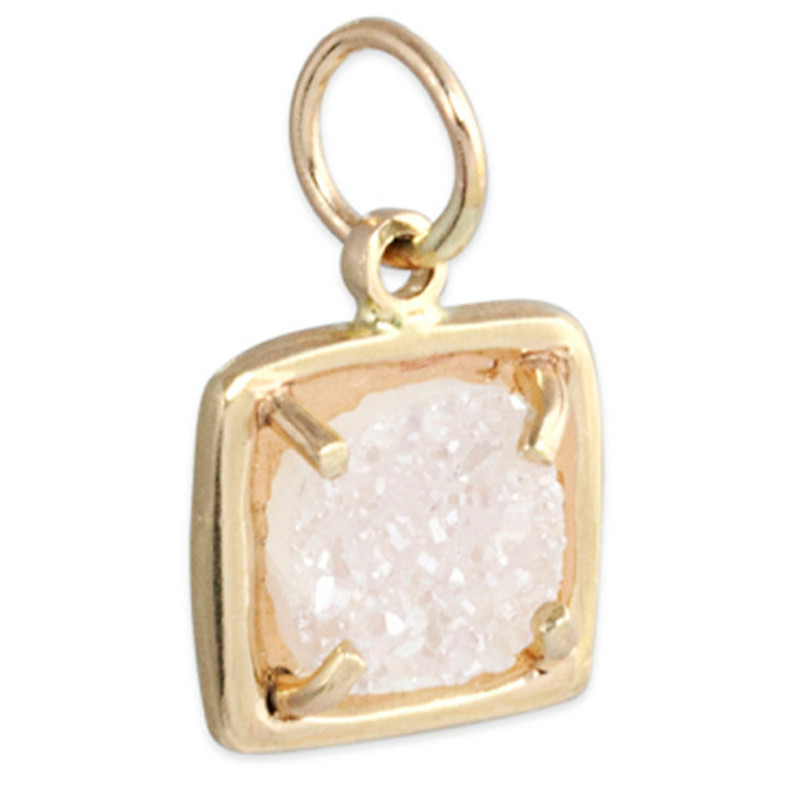 Druzy Square Small Charm Silver or Gold
