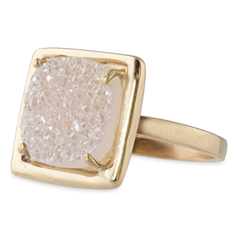 Stackable Ring Medium Square Druzy Silver or 14kt Gold