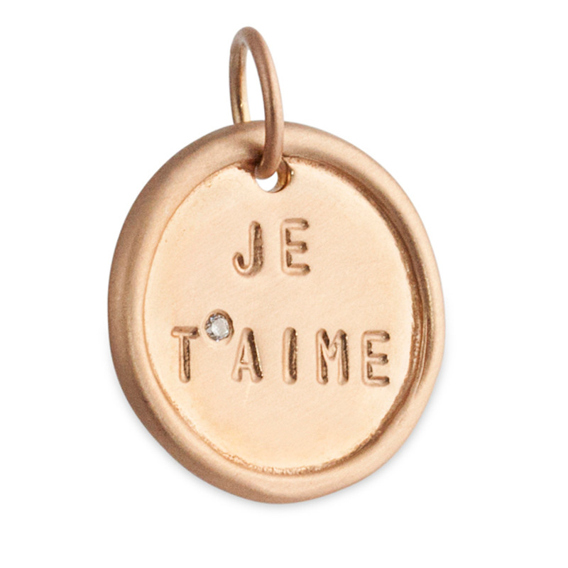 """Medium Disc 14kt Pink Gold """"Je Taime"""" and a diamond Ready-made"""