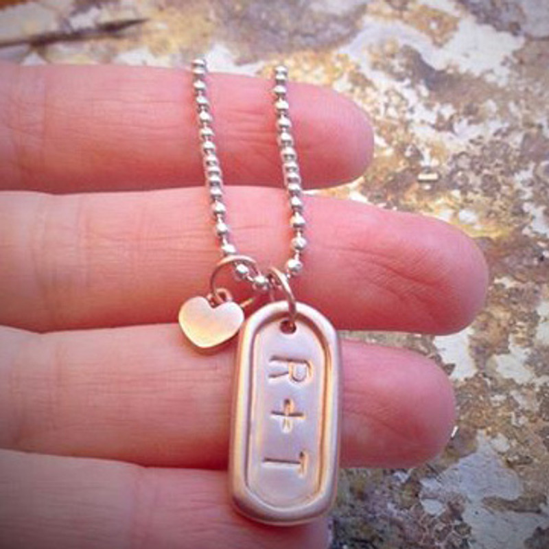 itty bitty pink gold heart with a Medium Dog Tag