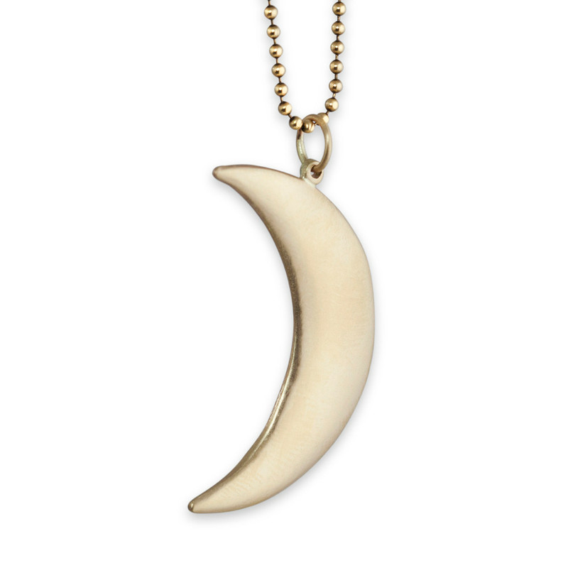 Large Moon Pendant Silver or Gold with optional hand-stamping and Diamonds