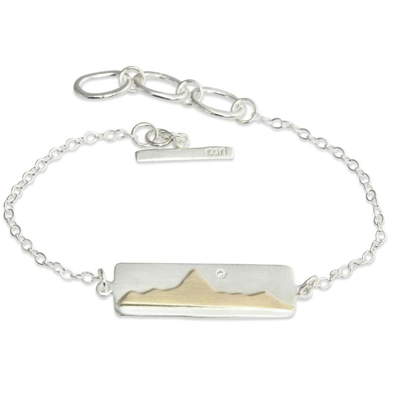 14kt Gold Mountain Range Silver Bar Bracelet with Diamond