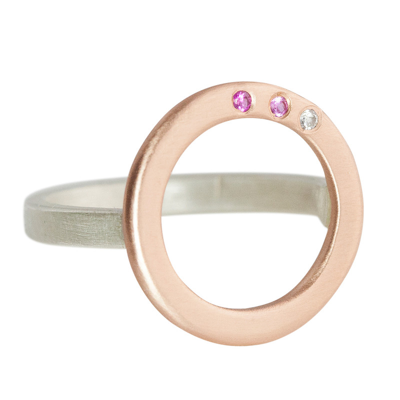 Circle Ring 14kt Pink Gold with 3 Ombré Pink Sapphires and silver band
