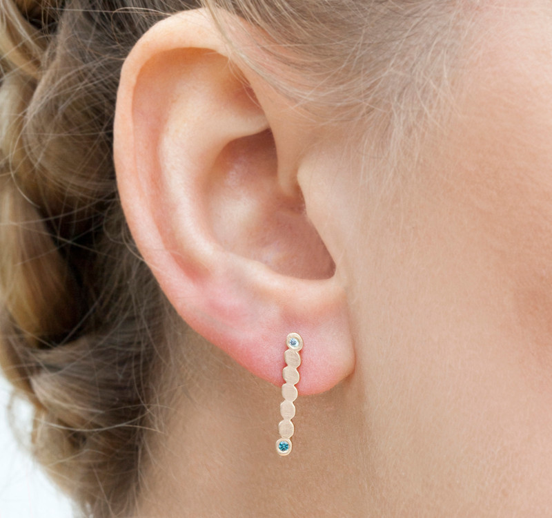 NEW! Dots Bar Earrings  worn as ear climbers or dangles with Diamonds Silver or 14kt Gold