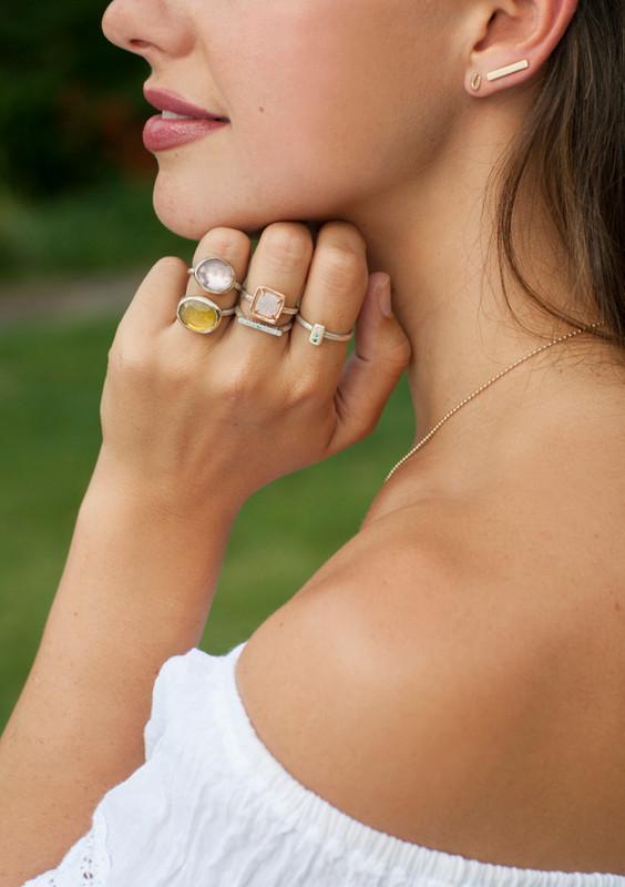 Ombré Diamond Stackable Itty Bitty Bar Ring