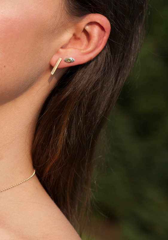 14kt Pink Gold TRUE LOVE Bar Staple Earrings with Pink Sapphires worn as ear climbers or dangles