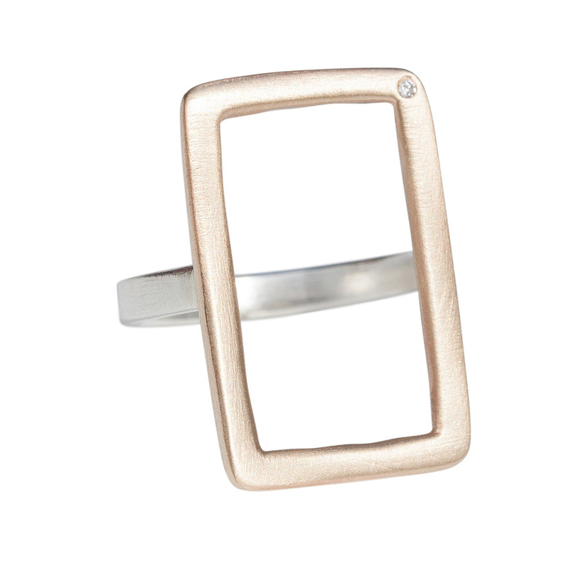 Open Rectangle Ring silver or 14kt gold personalized