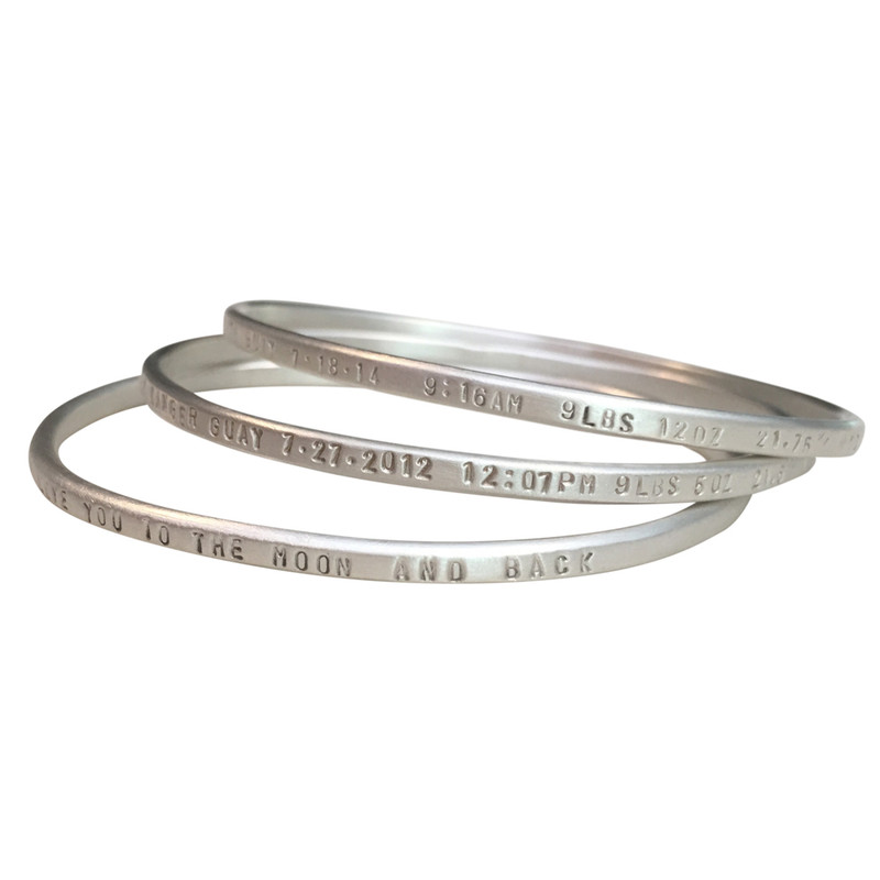 Thin Oval Bangle Bracelet Silver or 14kt Gold
