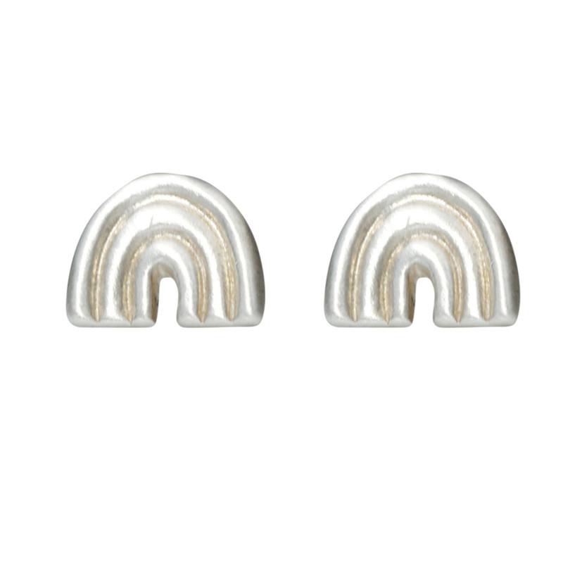 Rainbow Stud Earrings Silver or Gold