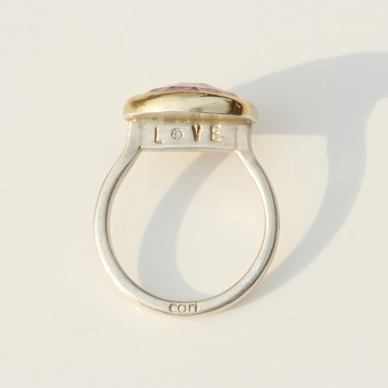 Pink Tourmaline Stackable Cocktail Ring with Diamond 'LOVE' Detail