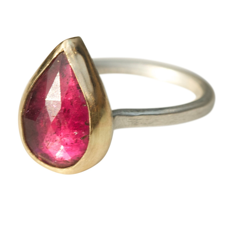 Bright Pink Teardrop Tourmaline Stackable Ring