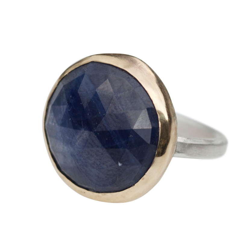 Circular Facetted Blue Sapphire Cocktail Ring