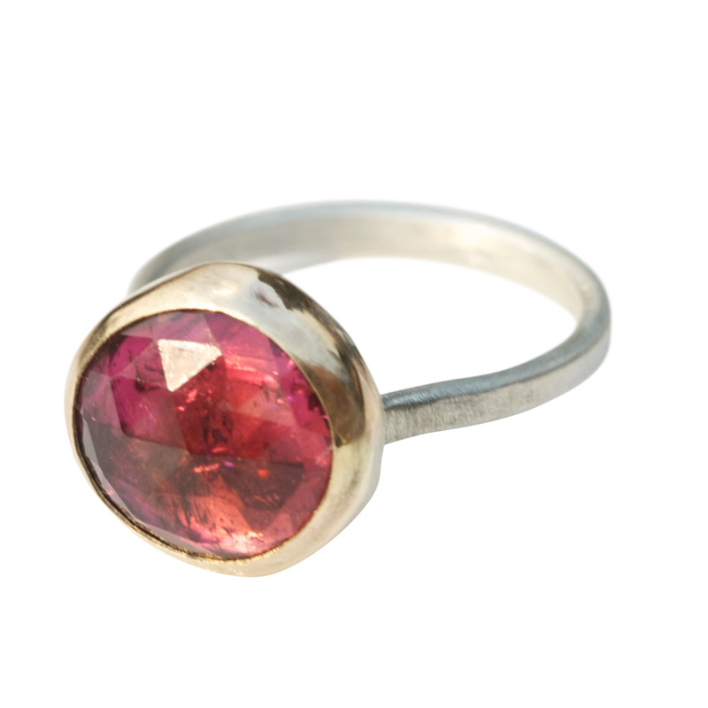 Vibrant Pink Tourmaline Stackable Cocktail Ring