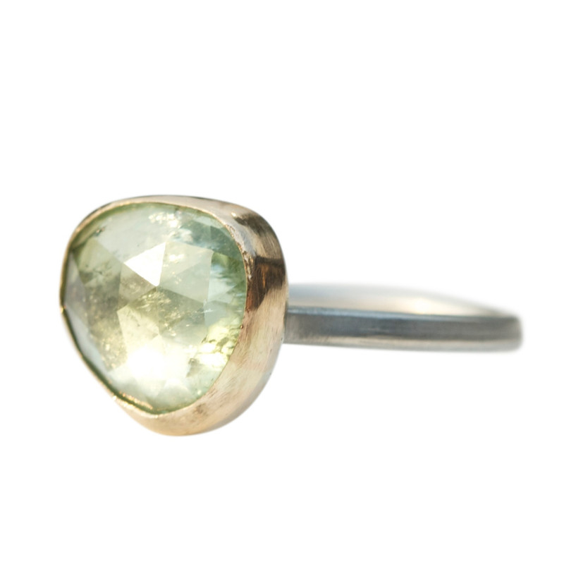 Dazzling Light Green Tourmaline Stackable Cocktail Ring