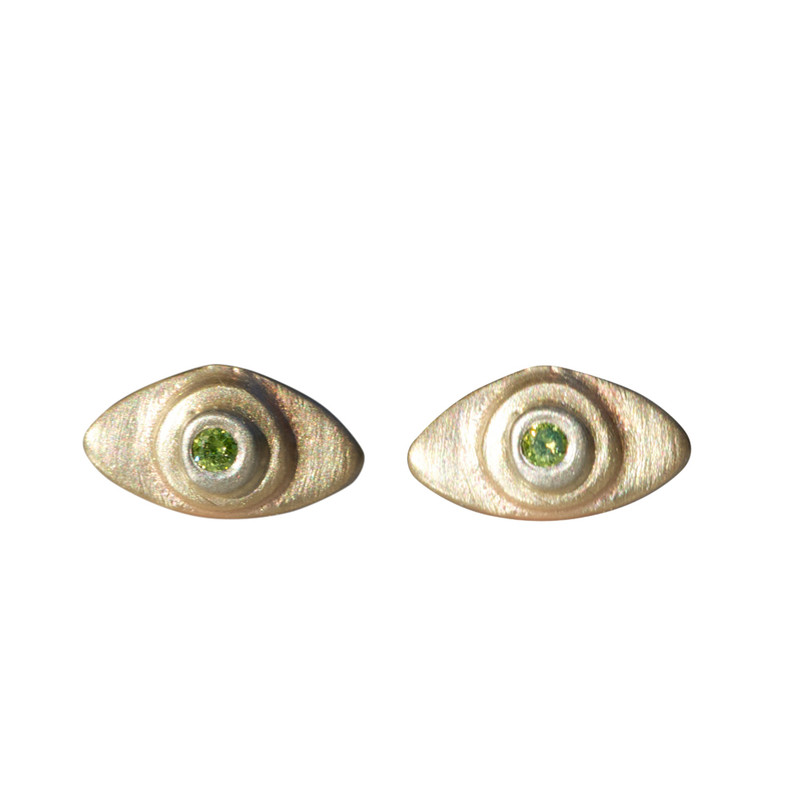Evil Eye Stud Earrings with gold dot and diamonds Silver or Gold