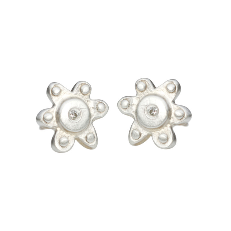 Flower Stud Earrings Silver or Gold Personalized