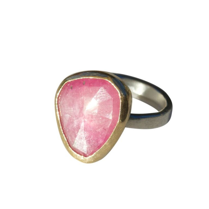Opaque Pink Sapphire Stackable Cocktail Ring