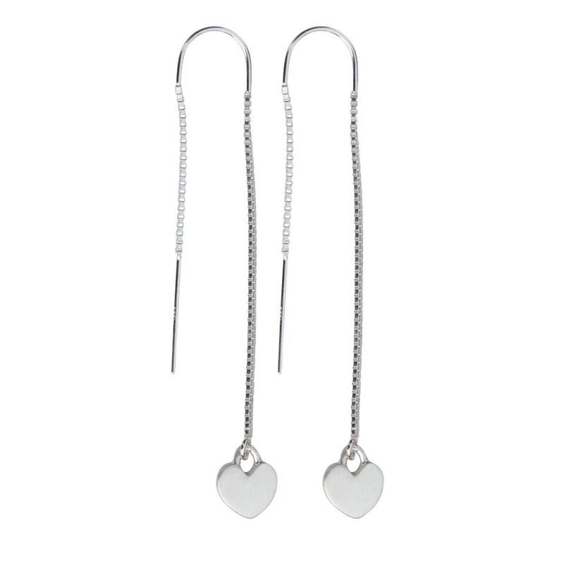 Threader Heart Charm Earrings Silver or Gold