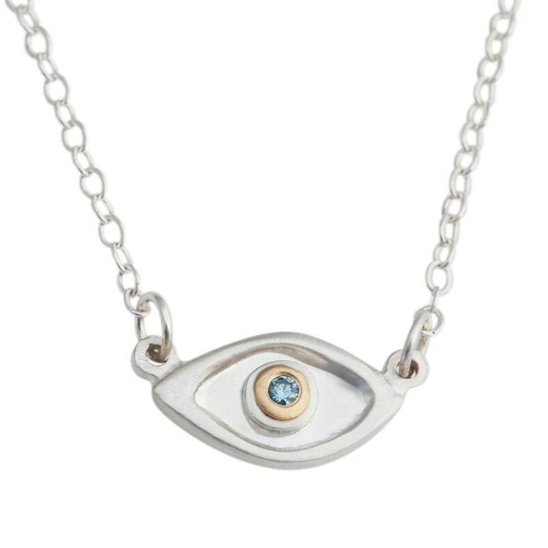 Medium Evil Eye Necklace Silver with large 2mm Blue diamond