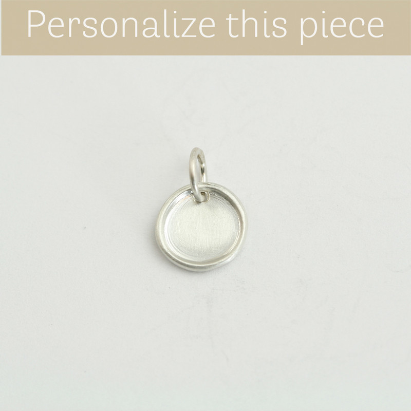 Tiny Disc Charm Silver Ready to Personalize and Ship