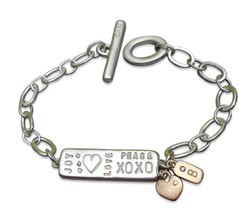 Graffiti Love stamping and Gold Teeny Bar and Gold Teeny Heart Charms dangling