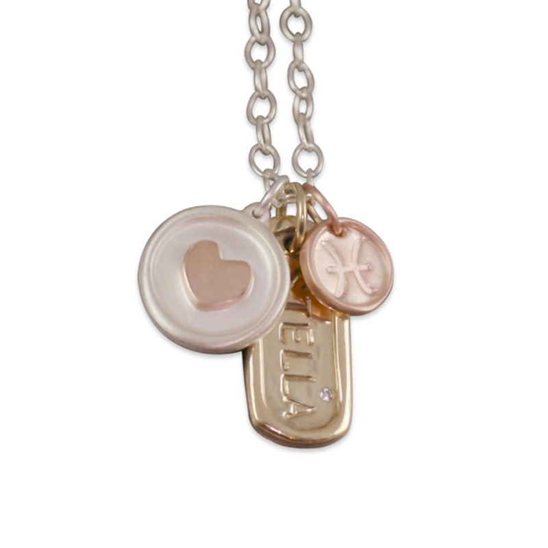 Raised Gold Heart Disc Personalized