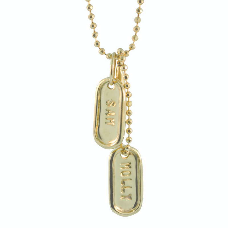 Tiny Dog Tag on an Extender Silver or Gold Personalized