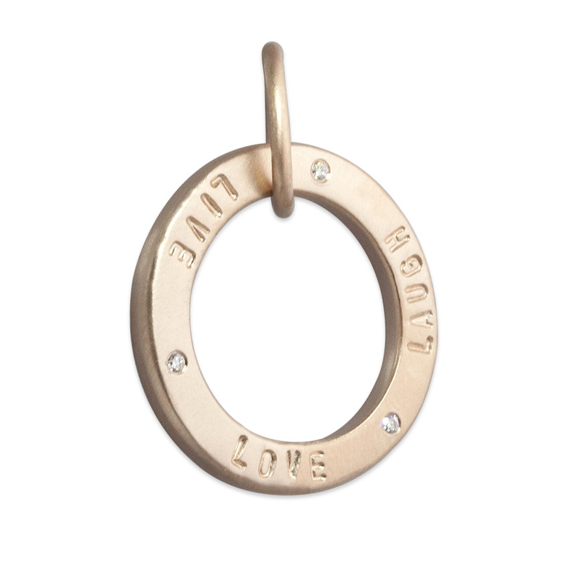 Open Circle Pendant Silver or Gold Personalized