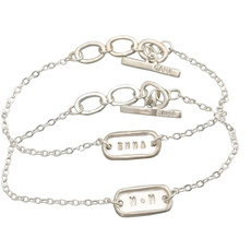 Tiny Link Bracelet with Sterling Silver Centerpiece and adjustable toggle clasp Personalized