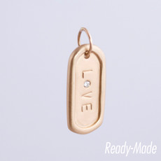 """14KT Pink Gold Medium Dog Tag """"L*VE"""" with a 2mm Diamond"""