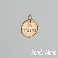"14kt Pink Gold Medium Disc ""Je Taime"" with a diamond"