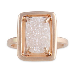 Stackable Ring Rectangle Druzy Silver or 14kt Gold