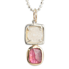 GemDrop Pink Tourmaline and Druzy Necklace One-of-a-Kind 002