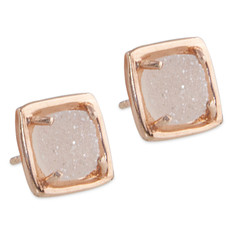 Earrings Druzy Studs Square Small Silver or Gold