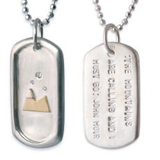 Large Dog Tag with Gold Mountains, Diamonds and John Muir Quote on heavy sparkly ball chain