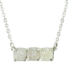 NEW Triple Druzy Bar Necklace Silver or Gold
