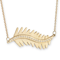 Sideways Linked Fern Leaf Necklace Silver or Gold with optional diamonds