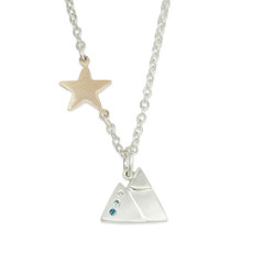 Mountain Charm Silver or Gold with optional Diamonds