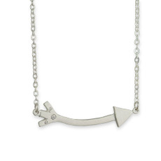 Long Arrow Linked Necklace Silver or Gold with Optional Diamonds
